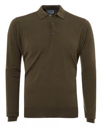 Mens Belper Polo Shirt, Long Sleeve Kielder Green Polo