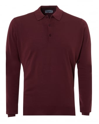 Mens Belper Polo Shirt, Long Sleeve Maroon Blaze Polo