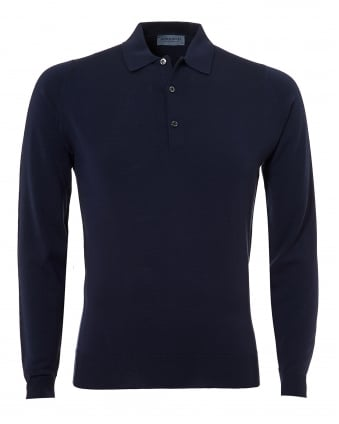 Mens Belper Polo Shirt, Long Sleeve Midnight Navy Polo