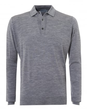 Mens Belper Polo Shirt, Long Sleeve Silver Polo
