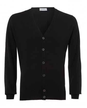 Mens Burley Cardigan, V Neck Black Merino Knit