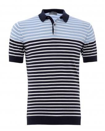 ae2a37055e49 Mens Eddris Navy Striped Polo Shirt New In · John Smedley ...