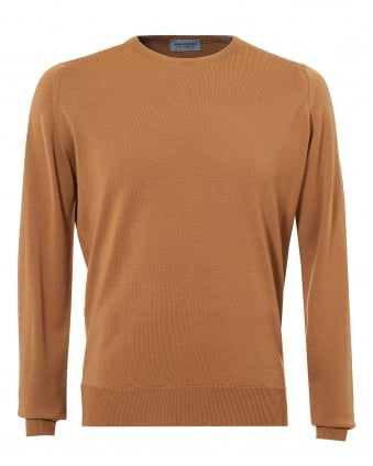 Mens Farhill Jumper, 24 Gauge Weight Camel Sweater