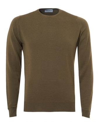 Mens Farhill Jumper, 24 Gauge Weight Kielder Green Sweater