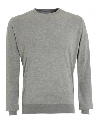 Mens Hatfield Jumper, Grey Crew Neck Regular Fit Sweater