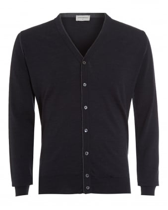 Mens Jumper, Bedminster 7 Button Charcoal Cardigan