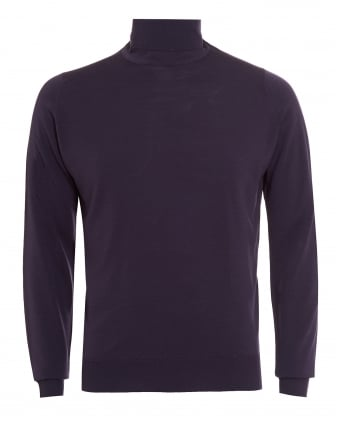 Mens Jumper, Belvoir Roll Neck Purple Knit