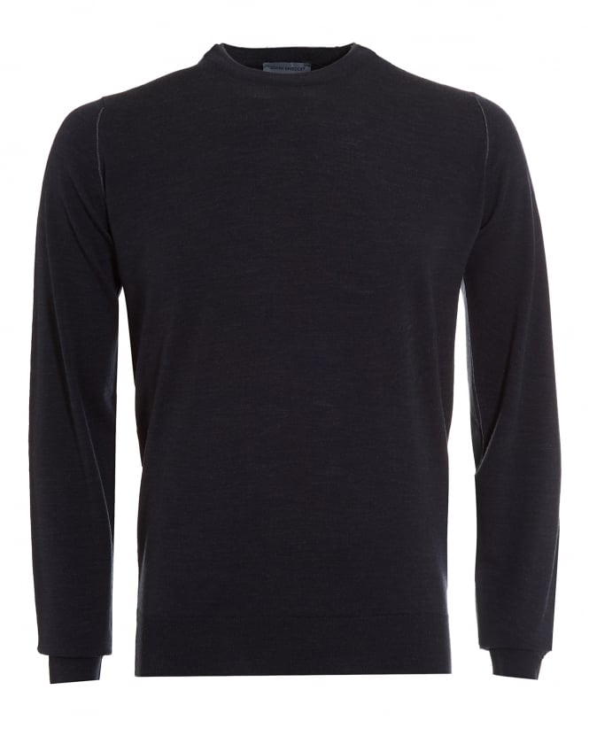 John Smedley Mens Jumper, Failand Double Layered Neck Charcoal Sweater