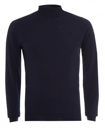 Mens Jumper, Harcourt Turtle Neck Midnight Blue Knit