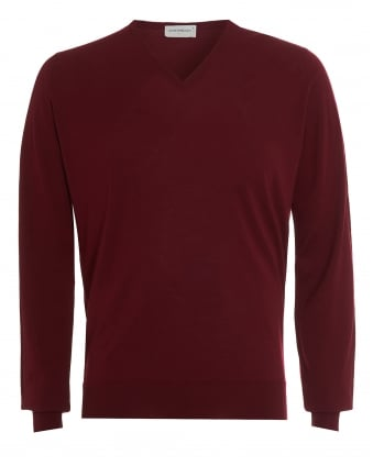 Mens Jumper, Kendal V-Neck Burgundy Knit