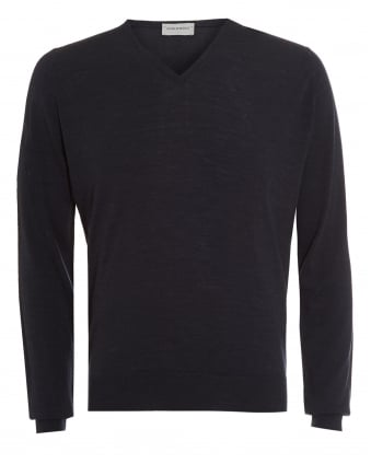 Mens Jumper, Kendal V-Neck Charcoal Grey Knit