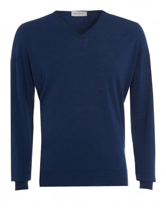 Mens Jumper, Kendal V-Neck Indigo Knit