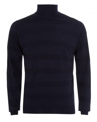 Mens Jumper, Ripley Banded Striped Midnight Blue Knit