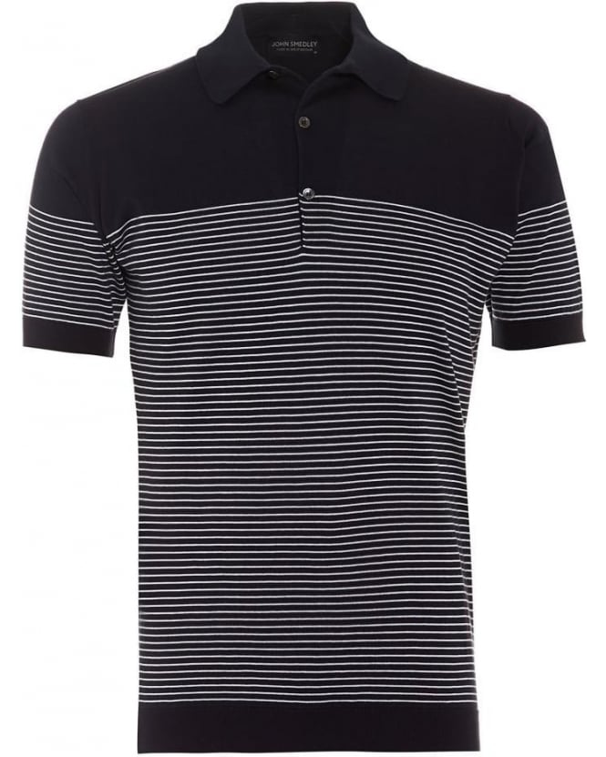 John Smedley Mens Polo Shirt Viking Stripe Navy White Polo