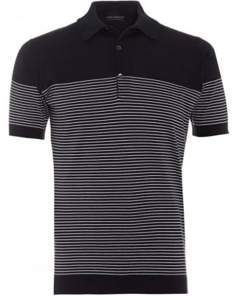 Mens Polo Shirt Viking Stripe Navy White Polo
