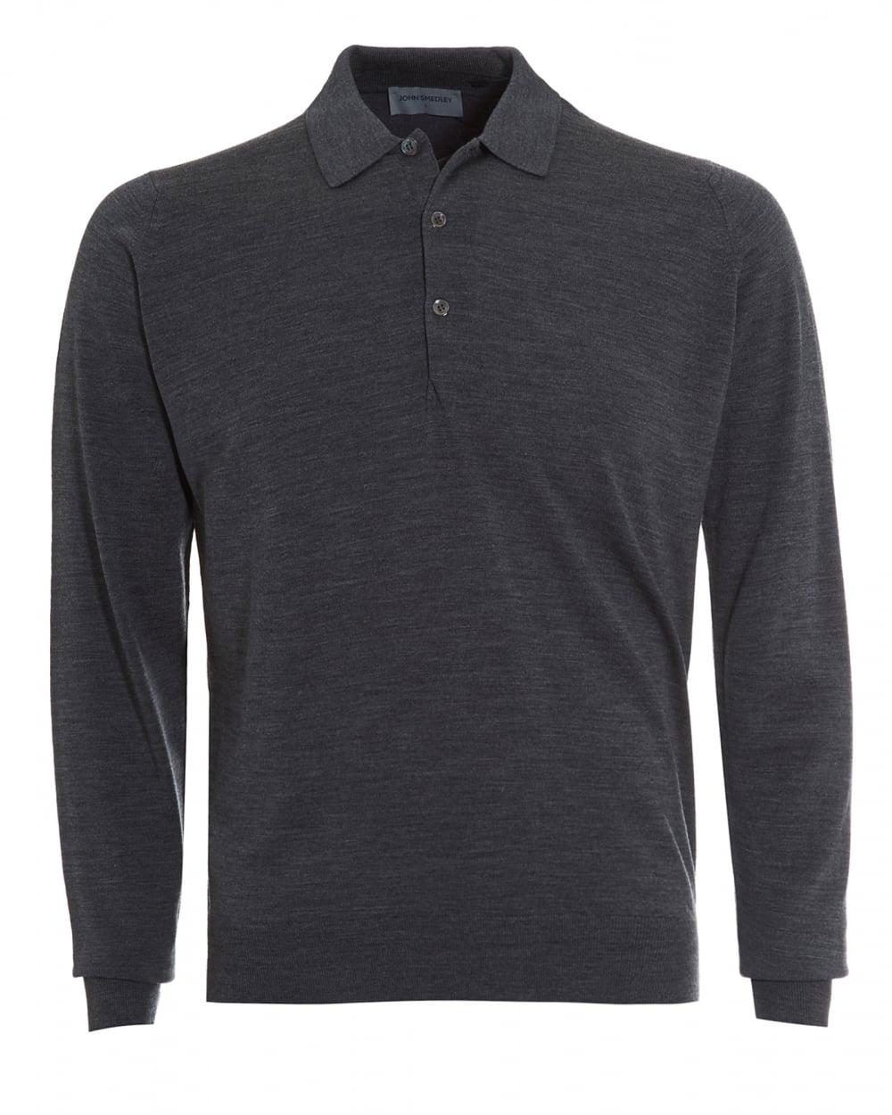 522923dc9 John Smedley Mens Polo, Tyburn Long Sleeved Charcoal Grey Polo Shirt