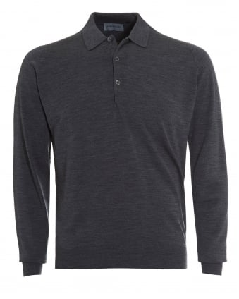 Mens Polo, Tyburn Long Sleeved Charcoal Grey Polo Shirt