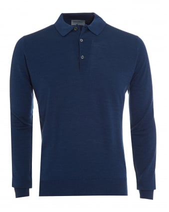 Mens Polo, Tyburn Long Sleeved Indigo Polo Shirt
