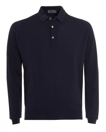 Mens Polo, Tyburn Long Sleeved Midnight Blue Polo Shirt