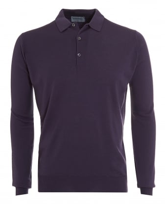 Mens Polo, Tyburn Long Sleeved Purple Polo Shirt