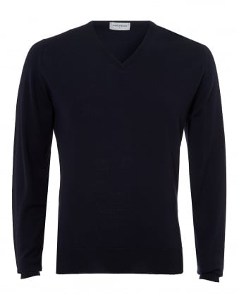 Mens Riber Jumper, V-Neck Merino Midnight Navy Sweater