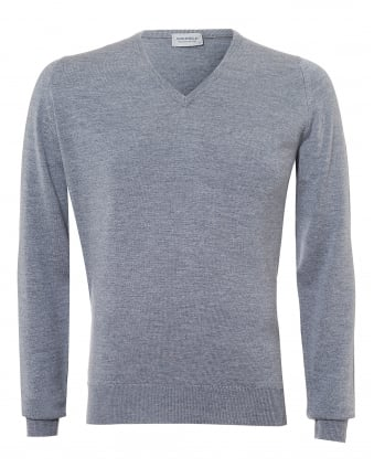 Mens Riber Jumper, V-Neck Merino Silver Grey Sweater