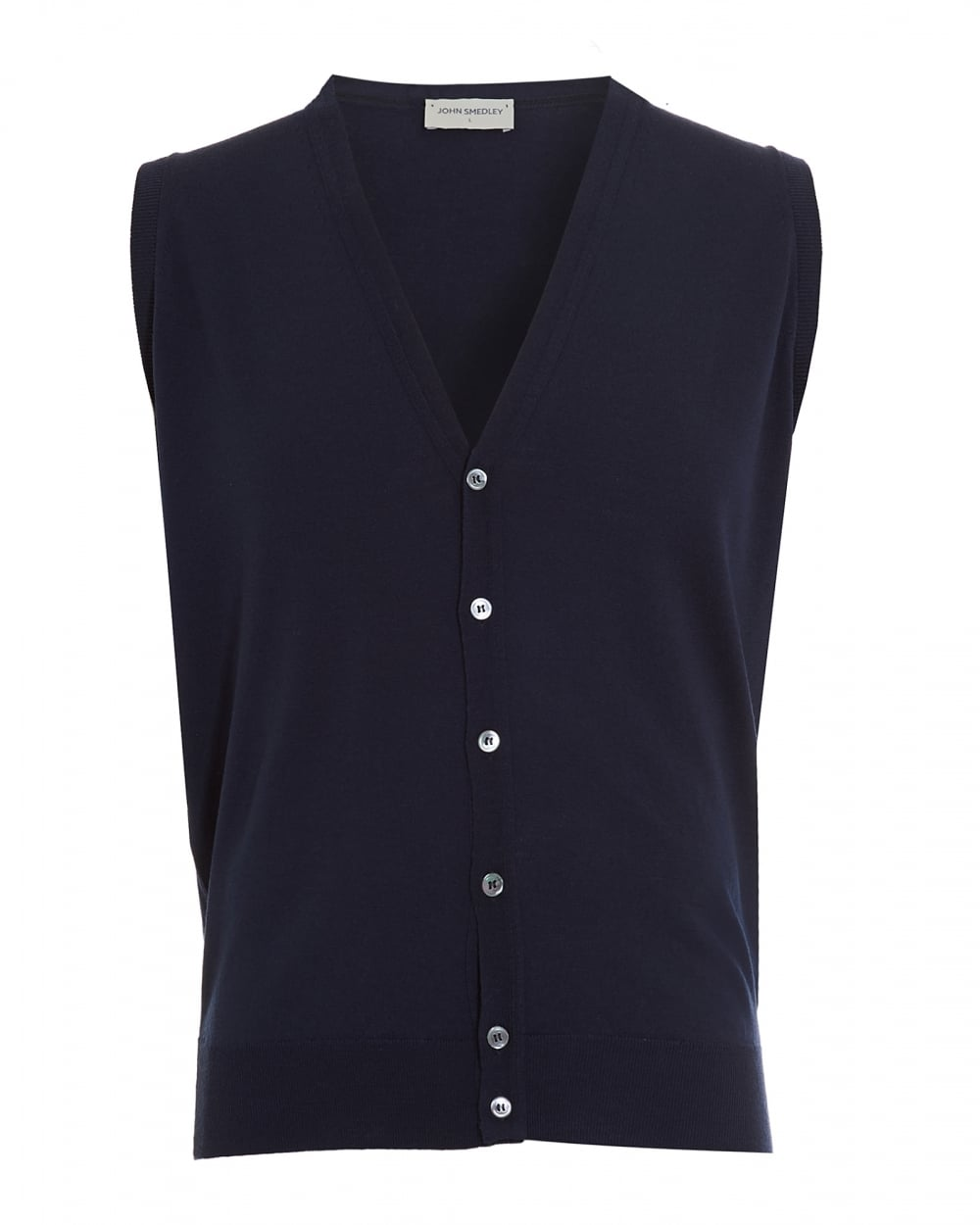 John Smedley Mens Sweater, Finagon Button Up Midnight Blue Vest