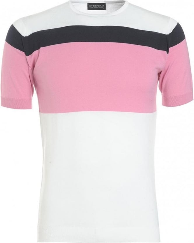 John Smedley T-Shirt, White And Pink Block Stripe 'Lawley' Tee