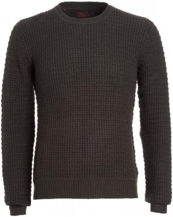 Jumper, Army Olive Wool Mix Waffle Knit