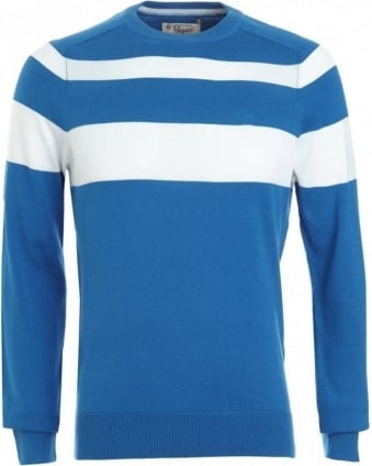 Jumper, Blue And White Colour Block Crew Neck Knit