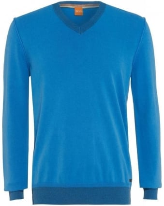 Jumper, Blue Contrast V Neck 'Abill' Knit