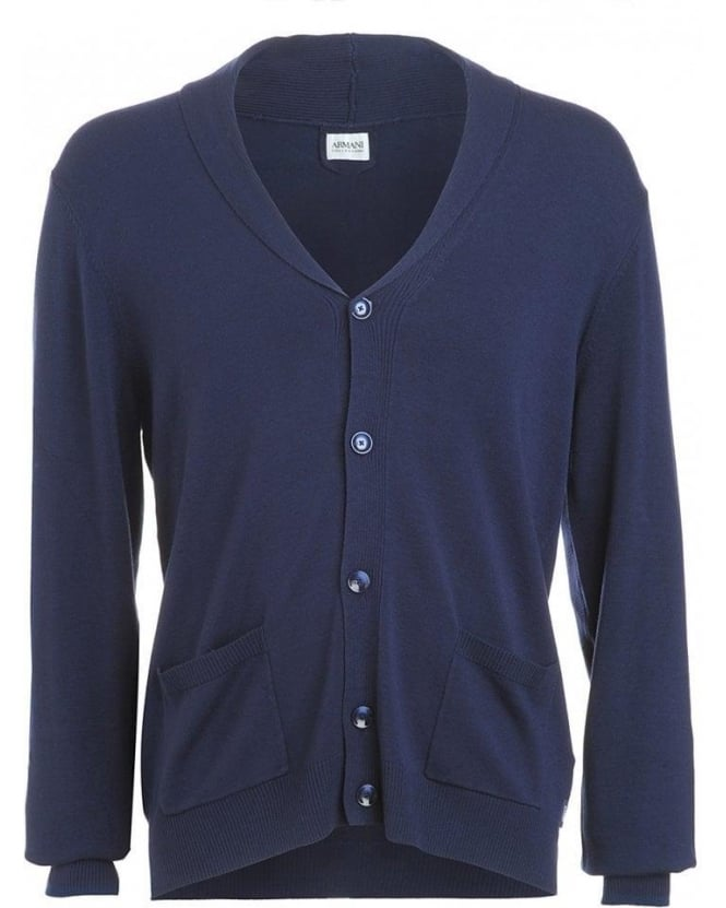 Armani Collezioni Jumper, Blue Lightweight Button Up Cardigan