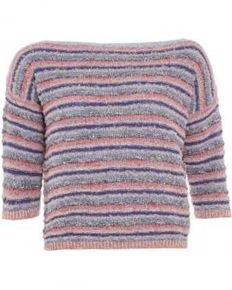 Jumper Blue Multi Red 'Diesel' Stripe Knitwear