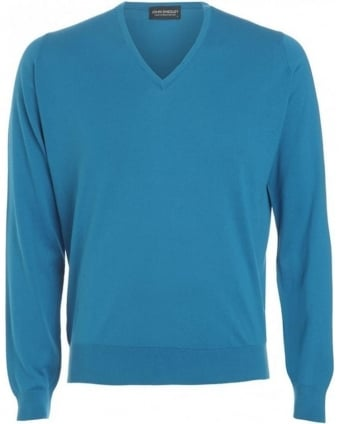 Jumper, Blue V Neck 'Bampton' Knit