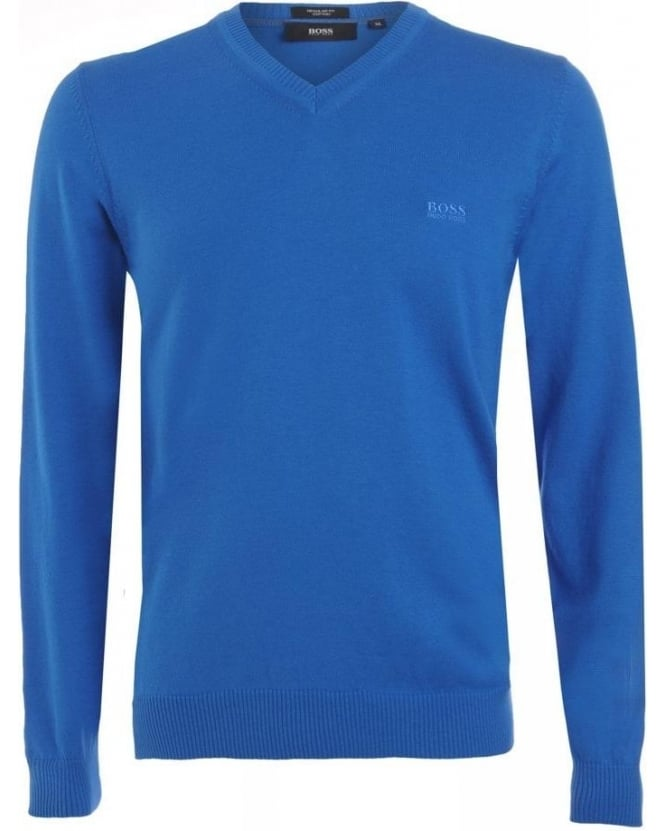 Hugo Boss Black Jumper, Blue V Neck Regular Fit 'Barnabas 4' Knit