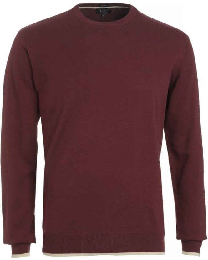 Armani Jeans Jumper, Bordeaux Crew Neck Regular Fit Elbow Patch Knit