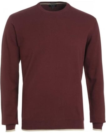 Jumper, Bordeaux Crew Neck Regular Fit Elbow Patch Knit