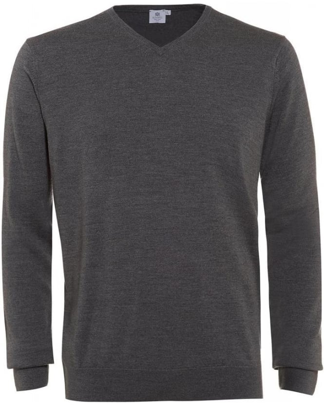 Sunspel Jumper, Grey Merino Wool V-Neck Knit