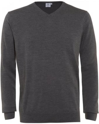 Jumper, Grey Merino Wool V-Neck Knit