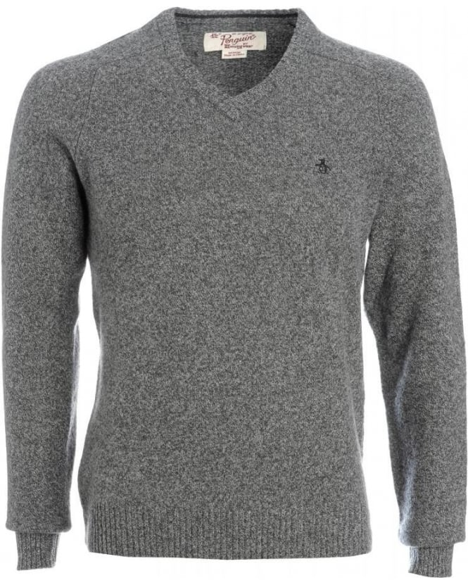 Original Penguin Jumper, Grey Monument Lambswool V-Neck Knit