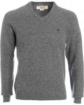 Jumper, Grey Monument Lambswool V-Neck Knit