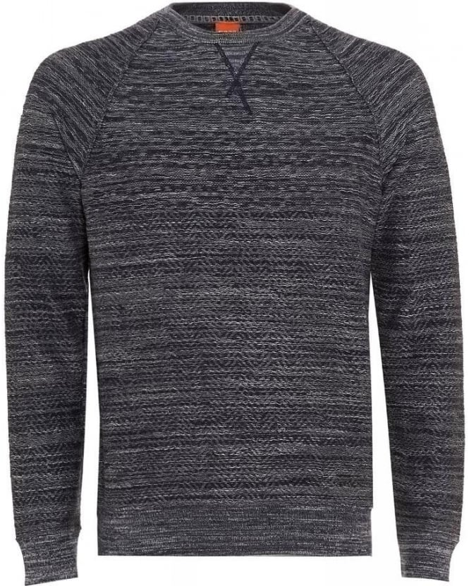 Hugo Boss Orange Jumper, 'Kordo' Navy Blue Marl Grey Sweater