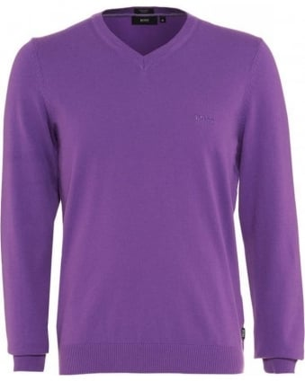 Jumper, Lilac Purple V Neck Regular Fit 'Barnabas 4' Knit