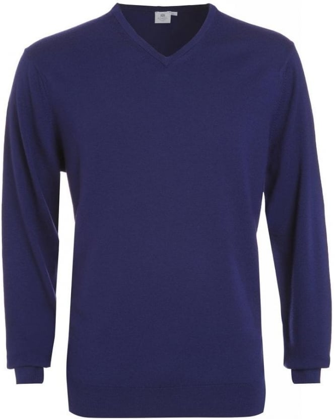 Sunspel Jumper, Midnight Blue V Neck Fine Merino Wool Knit