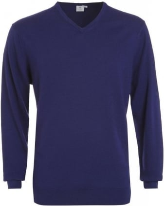 Jumper, Midnight Blue V Neck Fine Merino Wool Knit