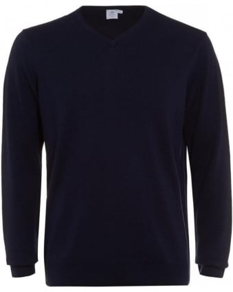 Jumper, Navy Blue Merino Wool V-Neck Knit