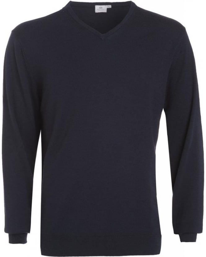 Sunspel Jumper, Navy Blue V Neck Fine Merino Wool Knit
