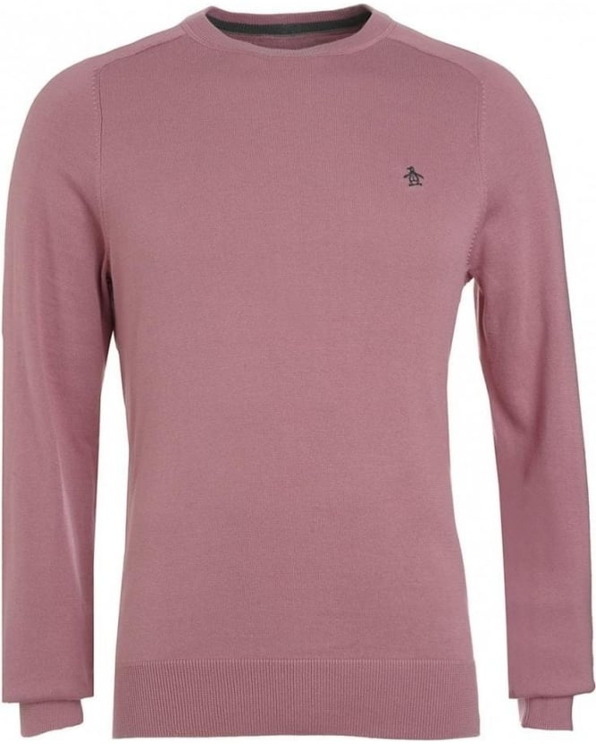 Original Penguin Jumper, Pink Crew Neck Knit