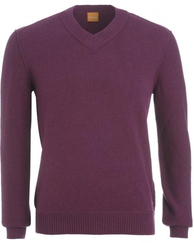 Hugo Boss Orange Jumper, Purple 'Kaamillo' Lambswool V-Neck Knit