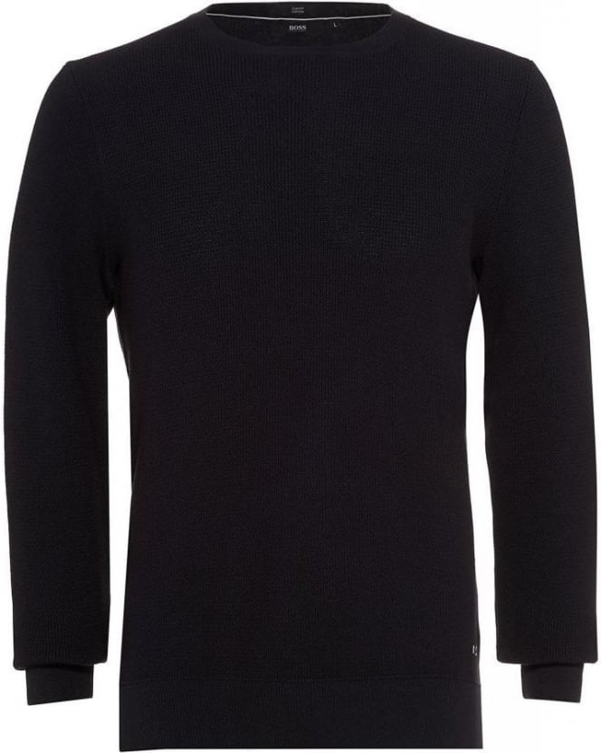 Hugo Boss Black Jumper, 'Umballe' Navy Cotton Slim Fit Sweatshirt